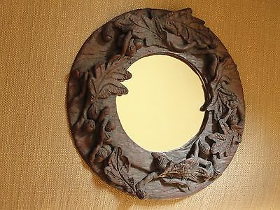 Artist Handcrafted Clay Mirror Acorns & Oak Leaves One Of A Kind Art Deco Style