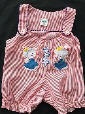 Vintage RARE Baby Girls Sunsuit Romper O-6 Mo 1950s Embroiderd dog jumping rope