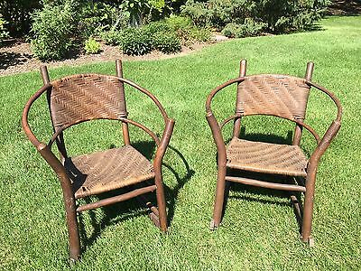 Pair Of Old Hickory Rocking Chairs Antique Andrew Jackson Indiana Arts Crafts