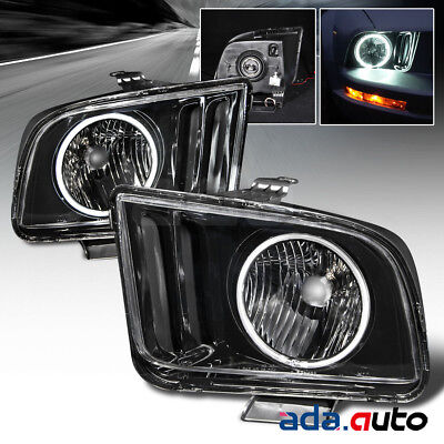2005 2006 2007 2008 2009 Ford Mustang Gt Ccfl Halo Headlights Lamps Pair Black