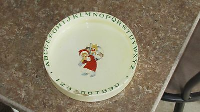ANTIQUE JAPAN ALPHABET CHILD FEEDING DISH BOWL PLATE with Cat & Christmas Scene