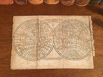 Rare 1816 Original Antique Globe WORLD HEMISPHERES Universal Geography Atlas Map