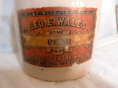 Antique Geo. E. Wales pottery storage jar from Newton Centre, Mass