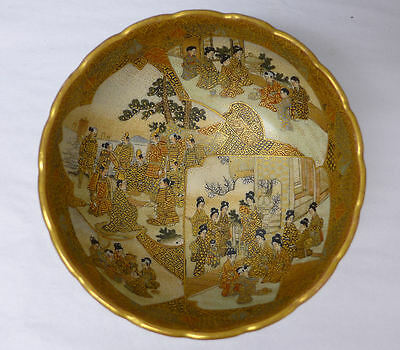 Japanese Satsuma Charger Bowl Figures Daily Life