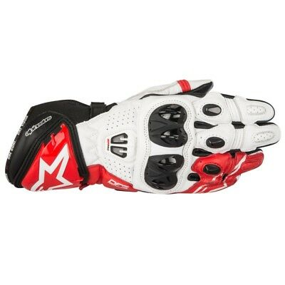 2017 Alpinestars Mens GP Pro-R2 Leather Race Gloves - White / Red Track Street M