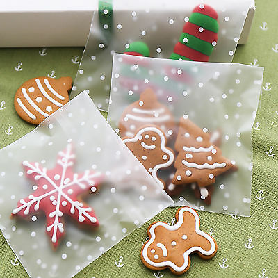 100 X Polka Dot Self Adhesive Cookie Candy Package Gift Bags Cellophane Birthday