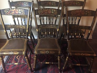 EARLY SET OF 6 NEW ENGLAND CHAIRS IN TOLE PAINT;  Good condition for age
