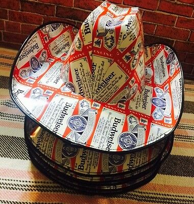 6 Budweiser Cardboard Beer Case Carton Box Cowboy Hat Party Adult Red Neck