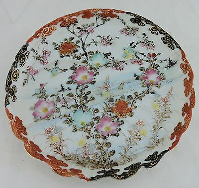 Antique Japanese Plate Hand Painted Pink Blue Red Blossom Flowers Birds