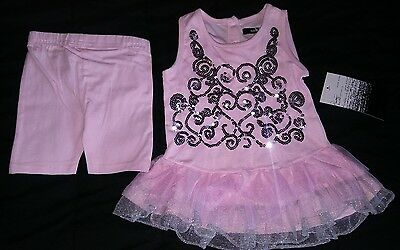 Baby Girls Pink 2-piece Tutu Outfit Sequin Decor 12M