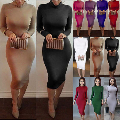 Women Summer Casual Long Sleeve Casual Evening Party Cocktail Long Midi Dress