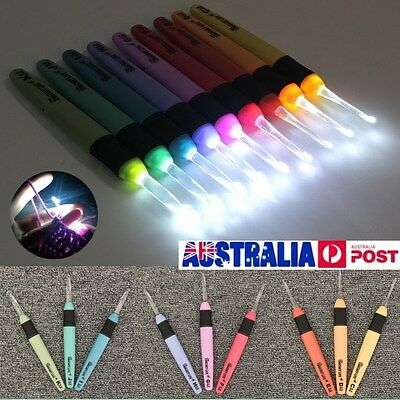 3pcs/9pcs Set Various Size LED Light Crochet Lites Hook Craft Batteries Include
