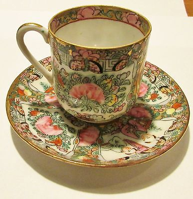 Vintage Famille Rose Medallion Hand Painted Demitasse Cup and Saucer