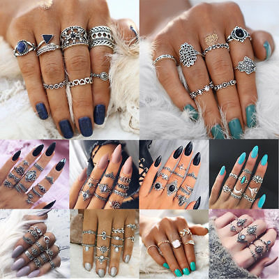9pcs/lot Vintage Bohemian Crystal Flower Retro Silver Gold Boho Finger Ring Set