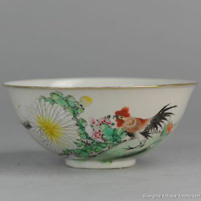 Early 20c Chinese Porcelain Rooster Bowl Marked Minguo Republic Antique China