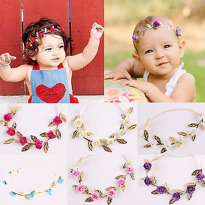 Baby Girls Toddler Kids Elastic Leaf Flower Hair Band Headband Headwear,New