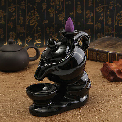 Kettle Ceramic Incense Burner Smoke Cone Backflow Tower Holder Furnace Fragrant