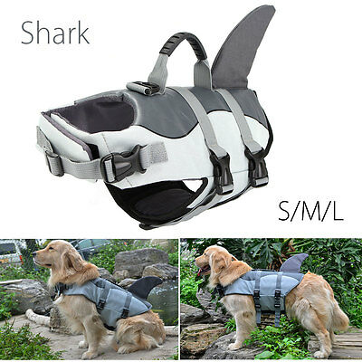 S/M/L Pet Dog Safety Swim Life Jacket Shark Float Vest Adjustable Buoyancy Aid