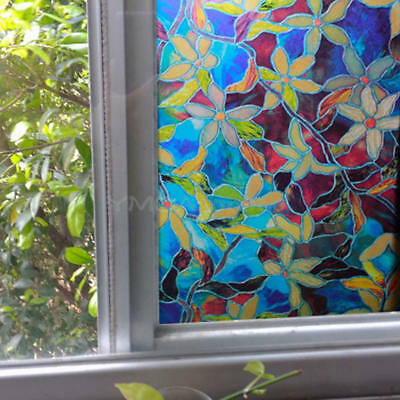 Window Film Static Privacy Stained Glass Decor Cling Films 45x100cm Floral