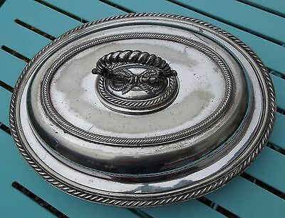 Antique Entree Dish, Oval Silver Plated, Walker & Hall
