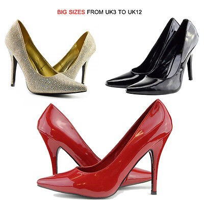 New Womens Mens DragQueen Work Fashion High Heel Pointed Court Shoes Size UK3-12