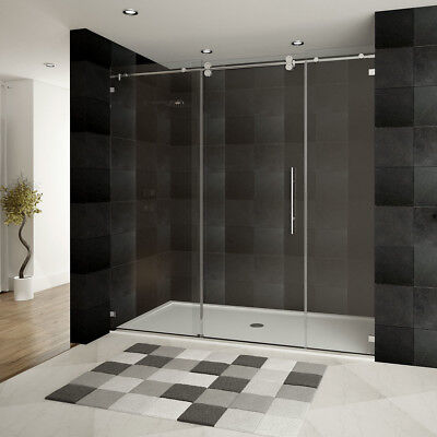 Ultra-D 72'' x 79'' Single Sliding Shower Door with Double Front Panel Chrome