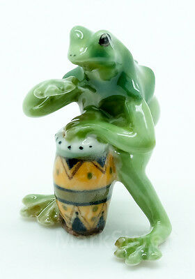Figurine Animal Ceramic Statue Green Frog Playing Drum Musical - FG002-1