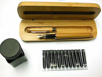 Cross Cut Bamboo Fountain Pen, Case, Black Ink Bottle & Black Cartridge Set