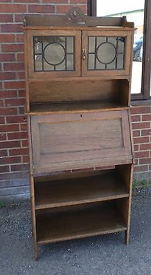 Harris Lebus antique Arts Crafts solid oak glazed students bureau bookcase desk