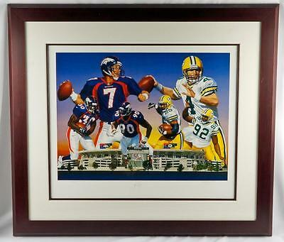Danny Day Super Bowl XXXII Broncos Packers Elway Signed Litho Print Art Favre