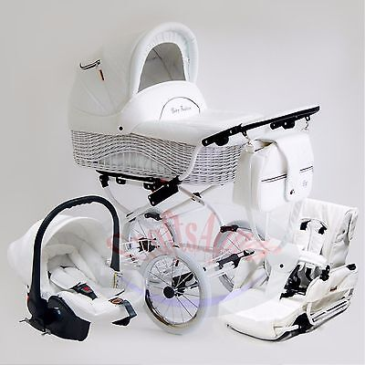 Wicker Retro Classic Pram Stroller Pushchair Baby 3in1 Travel System eco-leathe