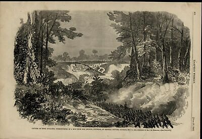Rebel Rifle Pits Capture Forest View Soldiers 1863 old Civil War print