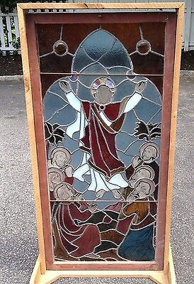 Vintage Antique Stained Glass Church Window, Jesus Christ 22x46