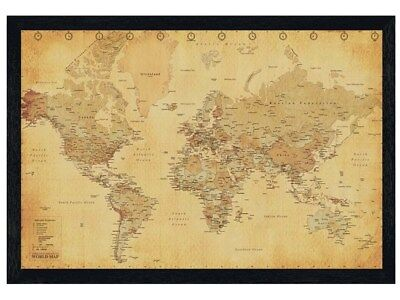 New Black Wooden Framed Vintage Style World Map Poster