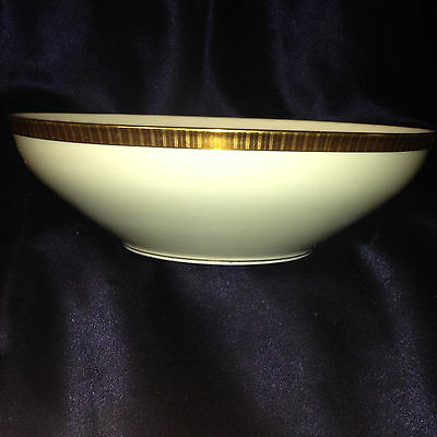 "Kpm Krister Germany 417 Round Vegetable Bowl 8"" Gold Etched Lines On Gold Band"