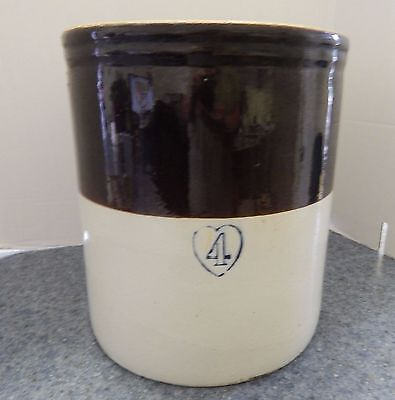 Vintage Antique 4 Gallon Brown and Gray Glazed Crock
