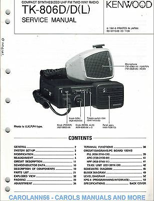 KENWOOD Service Manual TK-806D/D(L) Compact Synthesized UHF