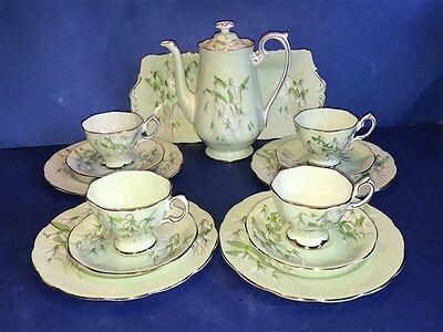 14 Piece Royal Albert England Laurentian Snowdrop China Coffee Set Service For 4
