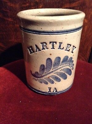 Vintage Crock Hartley IA. Signed Crock Clay Stoneware (Rare)
