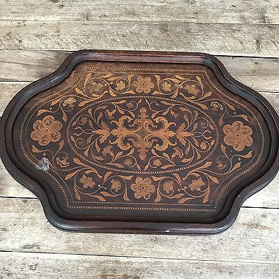 Antique Wood Serving Tray, Marquetry, Inlaid, Brass Handles. New York. Victorian