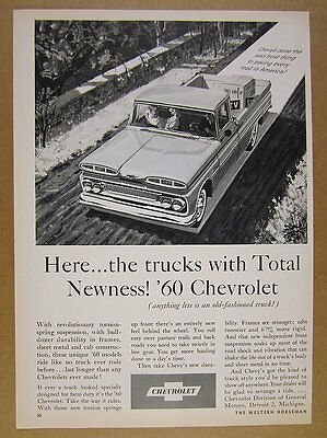 1960 Chevrolet Chevy Fleetside Pickup Truck illustration art vintage print Ad