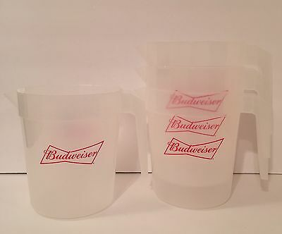 Budweiser 46 oz Plastic Beer Pitchers Lot of Four (4) - Brand New!