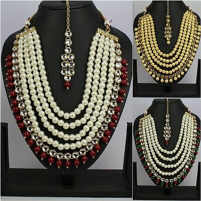 New Indian Gold Plated Women  Indian Necklace Set Earring Tikka Wedding Bridal