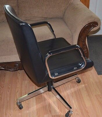 Vintage Mid-Century MODERN CHROME HARTER Executive Swivel Office Chair-Knoll ERA