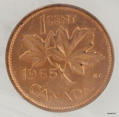 1965 Canada Copper Red Cent 1C LgeBds Blt 5 SmBds Ptd 5 MS Lot of 2 UNC ICCS