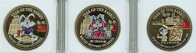 Macau Returns To China 1999 Year Of The Rabbit Colorized Trade Dollar Proof Set
