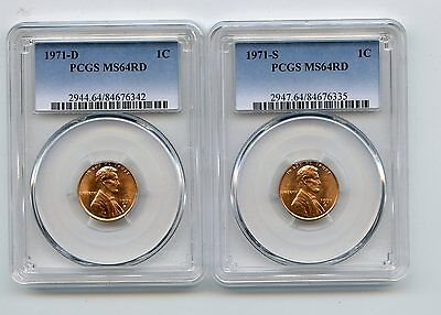 1971-S/1971-D Lincoln Memorial Cents (MS64RD) PCGS Two Coins