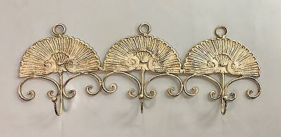 "Vintage Large iron 3 hook scallop shell wall hanger 25.75"" x 10"" Antique Ivory"