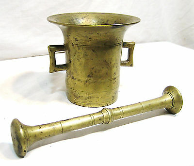 "Large Solid Brass Mortar and Pestle, 3 Pounds, 8"" Pestle and a 4 1/2"" Mortar"