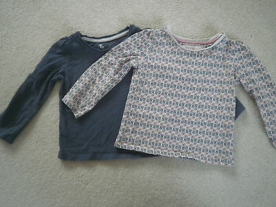 2 x TU girls long sleeved tops 18-24m one plain blue & the other pink patterned